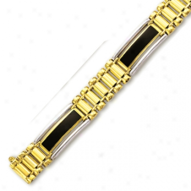 14 Two-tone Mens Black Onyx Bracelet - 8.5 Inch