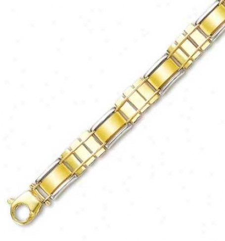 14k Two-tone Mens Fancy Connective Bracelet - 8.5 Inch