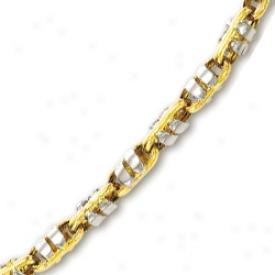 14k Two-tone Mens Fancy Link Bracelet - 8.75 Inch