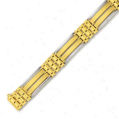 14k Two-yone Mens Link Bracelet - 8 Inch