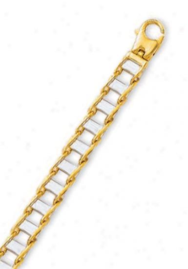 14k Two-tone Mens Link Bracelet - 8.5 Inch