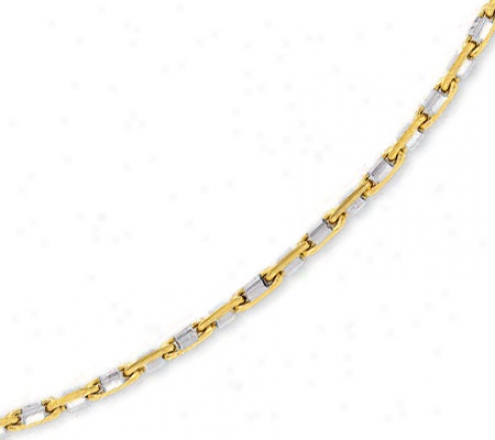 14k Two-tone Mens Link Necklace - 24 Inch