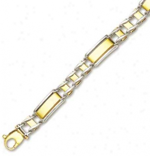 14k Two-tone Mens Railroad Drsign Ring Bracelet - 8.5 Inch