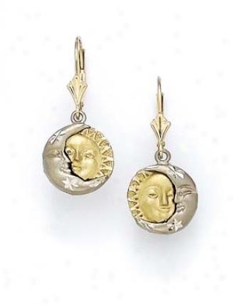 14k Two-tone Moon Sun Earrings