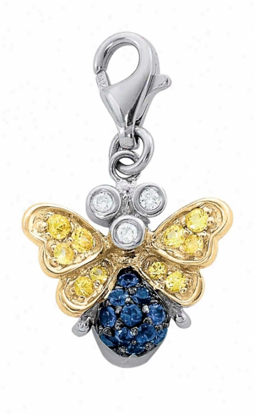 14k Two-tone Moth Round 1.5 Mm Sapphire And Diamond Charm