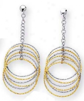 14k Twot-one Multi-circles Drop Design Earrings