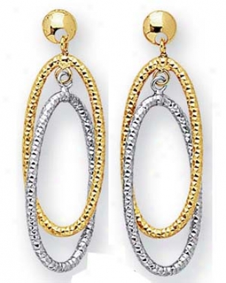 14k Two-tone Multi-ovals Drop Sketch Earrings