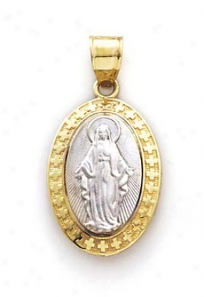 14k Two-tone Oval Mary Pendant