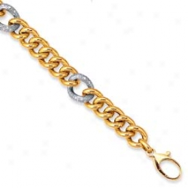 14k Two-tone Pave-set Connect Lobster Claw Bracelet - 7.25 Inch