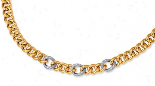 14k Two-tone Pave-set Link Lobster Claw Necklace - 18 Inch