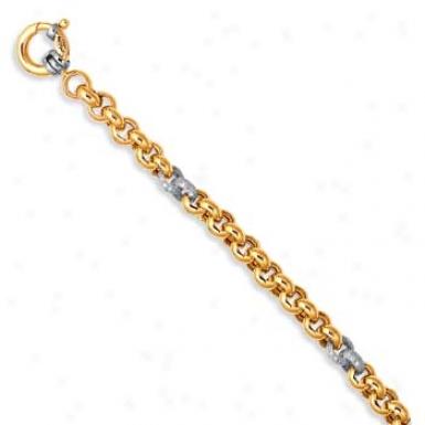 14k Two-tone Pave-set Rolo Link Spring Bracelet - 7.75 Inch