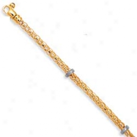 14k Two-tone Pave-eet Move about Wheat Bracelet - 7.5 Inch