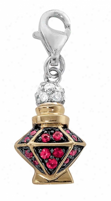 14k Two-tone Perfume Bottle 1.5 Mm Ruby And Diamond Charm