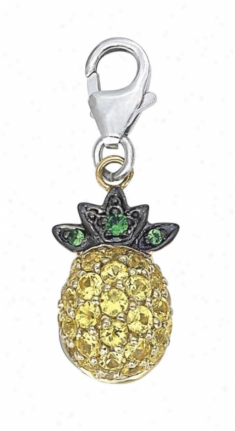 14k Two-tone Pineapple Round 1.5 Mm Yellow Sa0phire Charm