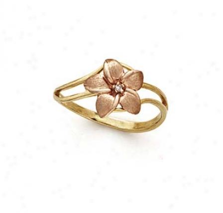 14k Two-tone Plumeria Diamond Ring