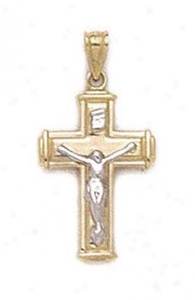 14k Two-tone Polished Crucifix Pendant