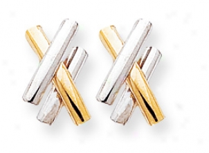 14k Two-tone Polished X Post Earrings