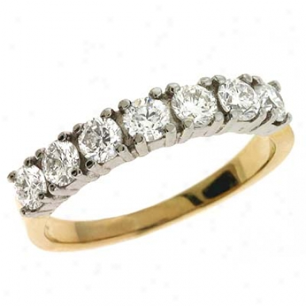 14k Two-tone Prong-set 0.88 Ct Diamond Band Ring
