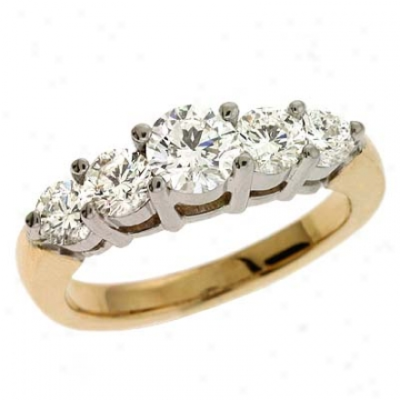 14k Two-tone Prong-set 1.44 Ct Diamond Band Ring