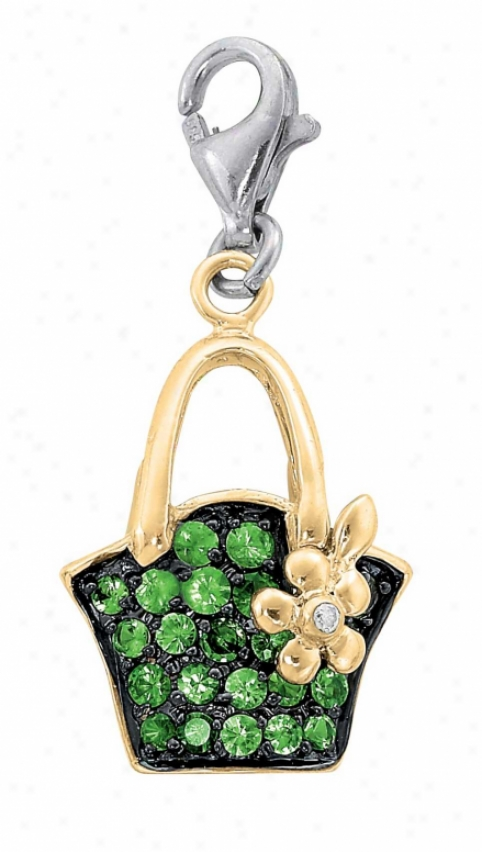 14k Two-tone Purse 1.5 Mm Green Garnet And Diamond Charm