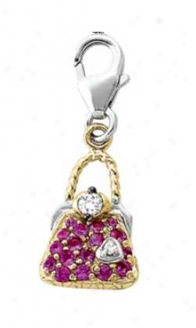 14k Two-tone Purse 15. Mm Pink Sapphire And Diamond Charm