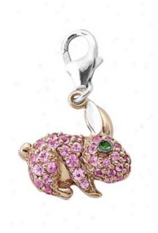 14k Two-tone Rabbit Round 1.5 Mm Pink Sapphire Charm