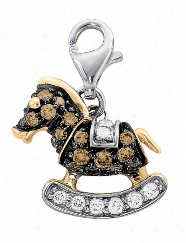 14k Two-tone Rocking Horse Round 1.5 Mm Diamond Charm