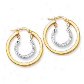 14k Two-tone Satin And Diamond Cut Earrings
