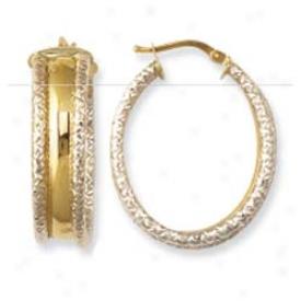 14k Two-tone Satin And Diamond Cut Earrings