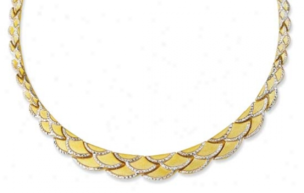 14k Two-tone Scalloped Diamond-cut Necklace - 17 Inch