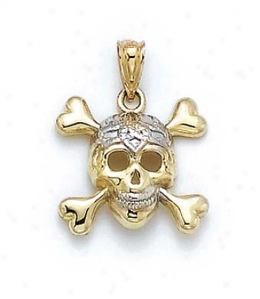 14k Two-tone Skull And Crossbones Pendant