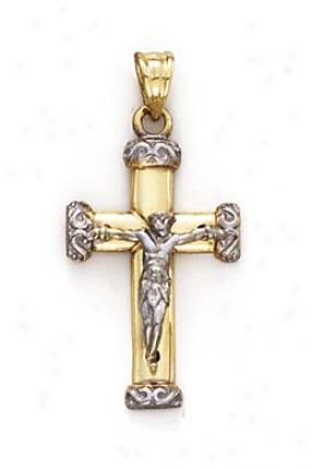 14k Two-tone Little Crucifix Pendant