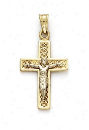 14k Two-tone Small Filigree Back Crucifix Pendant