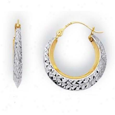 14k Two-tone Small Round Diamond-cut Hoop Earrings
