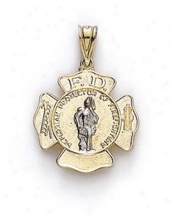 14k Two-tone Small St Florian Medallion Pendant