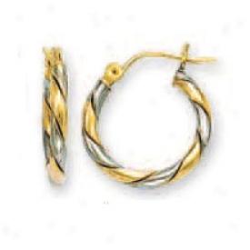 14k Two-tone Small Swirl Hoop Earrings