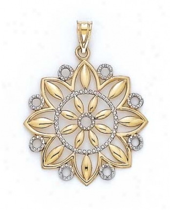 14k Two-tone Starburst Flower Medium Pendant