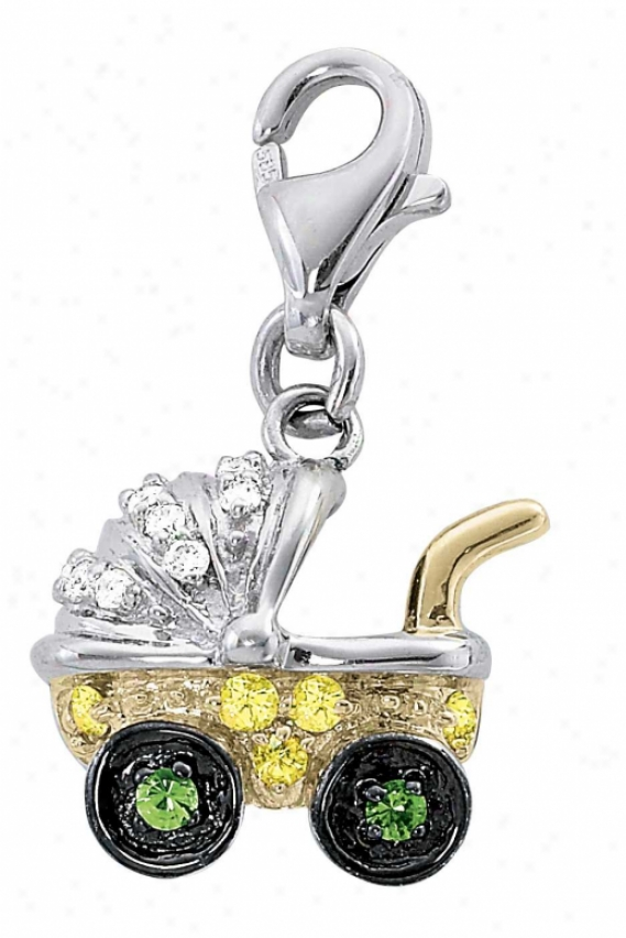 14k Two-tone Stroller Yellow Sapphire And Diamond Charm