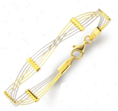 14k Two-tone Stylish Crisscross Bracelet - 7 Inch