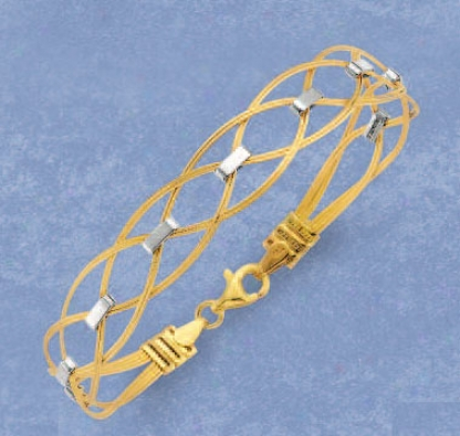 14k Two-tone Stylish Crisscross Bracelet - 7.25 Inch