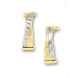 14k Two-tone Stylixh Crisscross Earrings