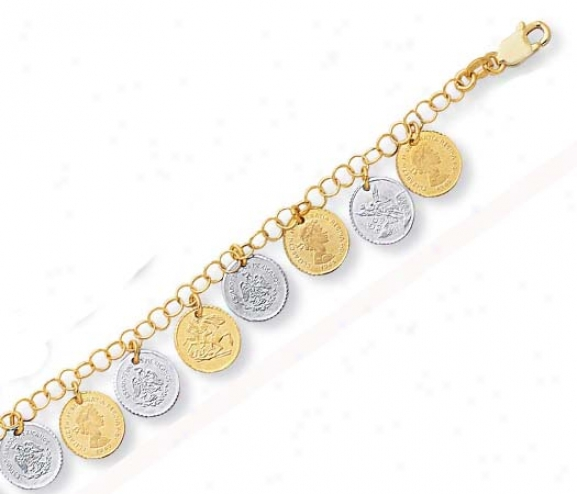 14k Two-ton Stylish Drop Coin Design Bracelet - 7.5 Inch