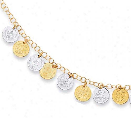 14k Two-tone Stylish Drop Coin Design Necklace - 17 Inch