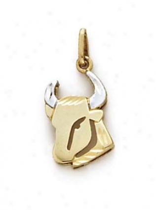 14k Two-tone Taurus Zodiac Pendant