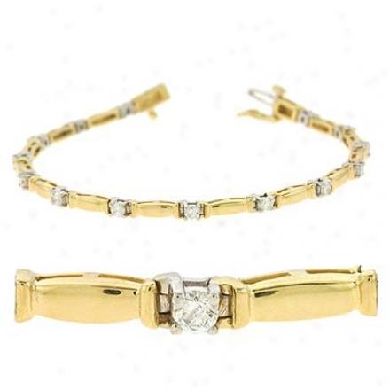 14k Two-tone Tennis 1 Ct Diamond Bracelet