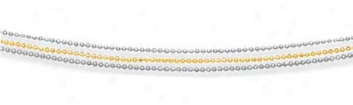 14k Two-tone Three Strand Beaded Necklace - 16 Inch