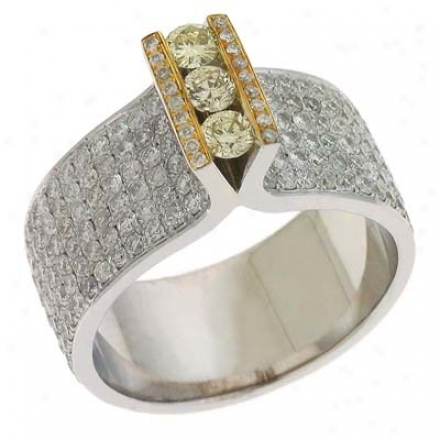 14k Two-tone Trendy Fancy Color 2.79 Ct Diamond Ring