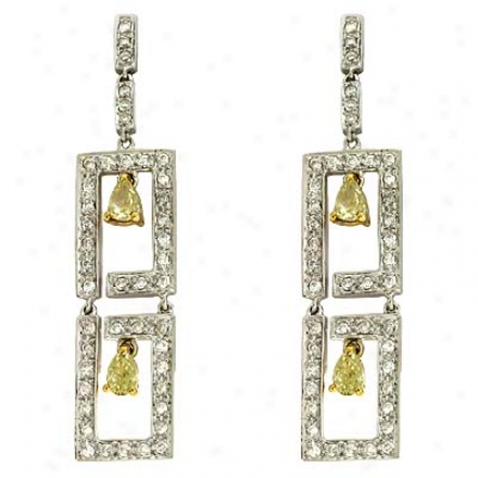 14k Two-tone Trendy Fancy Yellow Diamond Diamond Earrings