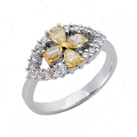 14k Two-tone Trendy Fancy Yellow Diamond Diamond Ring
