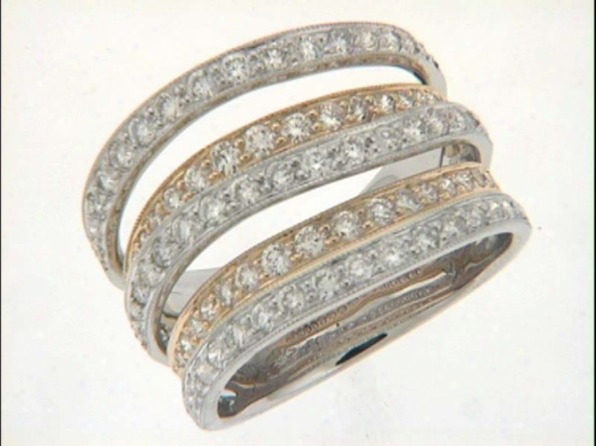14k Two-tone Trendy Pave 1.56 Ct Diamond Ring